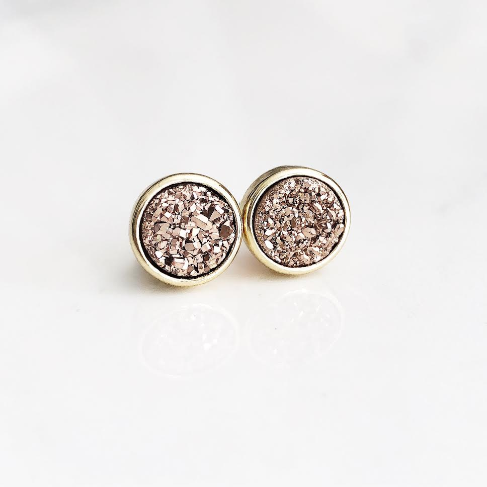 Gold Rose Gold Druzy Studs