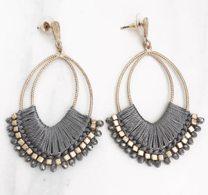 Gold Grey Thread + Beaded Drop Earrings