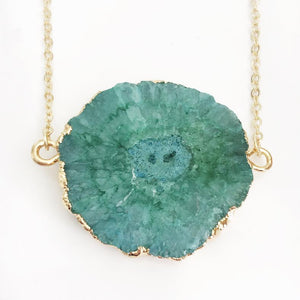 Gold Green Solar Quartz Necklace