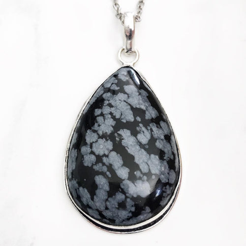Silver Snowflake Obsidian Necklace