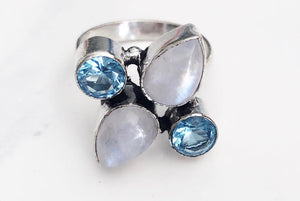 Silver Blue Quartz + Moonstone Ring