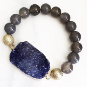 Gold Purple Druzy Agate Bracelet