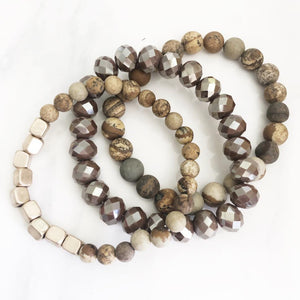 Gold + Brown Stackable Natural Stone Bracelets