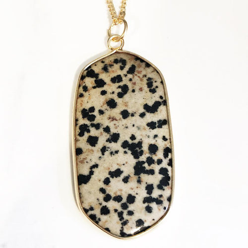 Gold Dalmatian Jasper Necklace