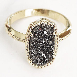 Gold Silver Druzy Claw Ring