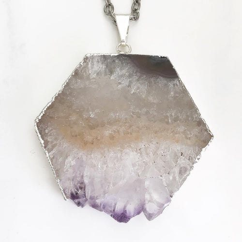 Silver Raw Amethyst Necklace