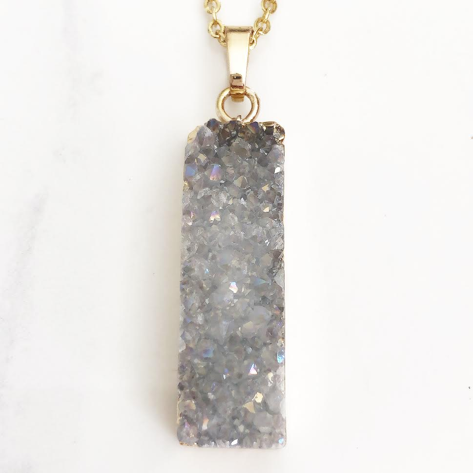 Gold White Druzy Necklace