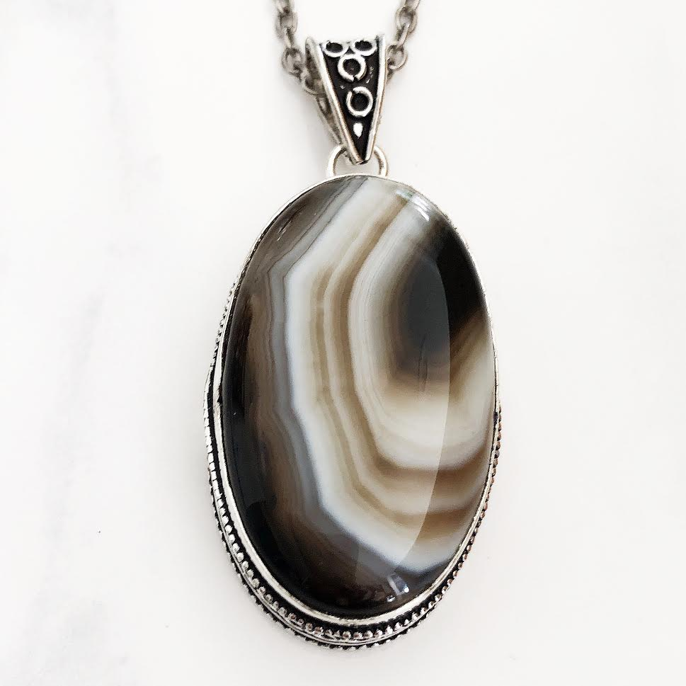 Silver Brown + Cream Botswana Agate Necklace