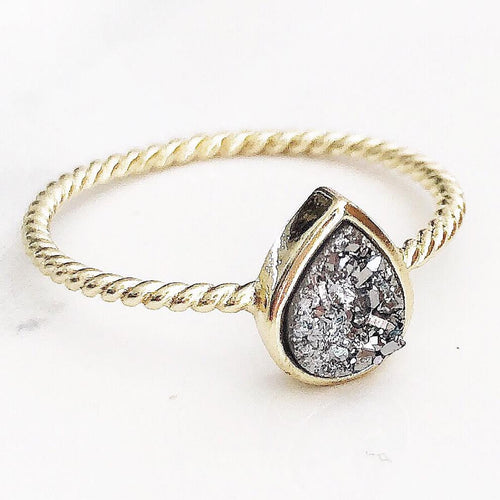 Gold Silver Oval Druzy Ring