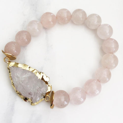 Rose Quartz + Arrowhead Quartz Bracelet