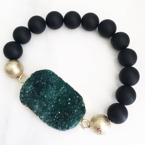 Gold Green Druzy Black Bracelet
