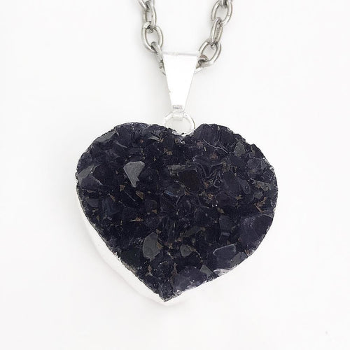 Silver Purple Druzy Heart Necklace