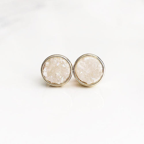 Gold Light Blush Druzy Studs