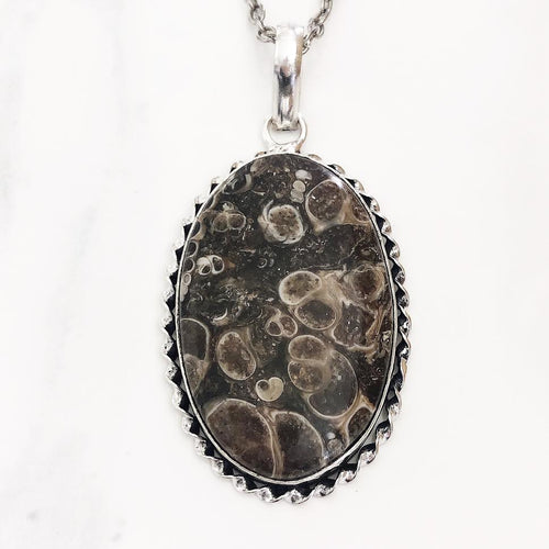 Silver Turritella Agate Necklace
