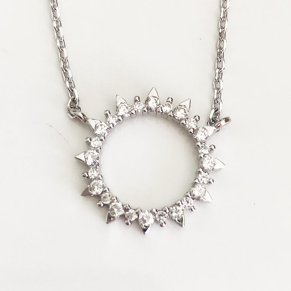 Silver Diamond Sun Necklace