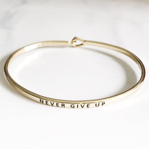 Never Give Up Hook Bangle Bracelets