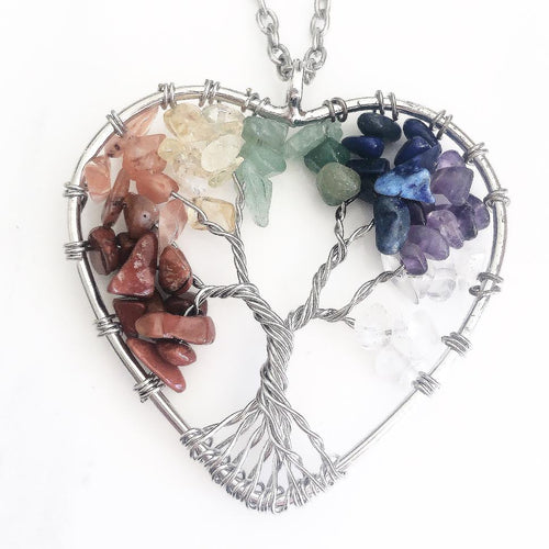 Heart Rainbow Tree of Life Necklace