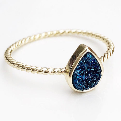 Gold Blue Oval Druzy Ring