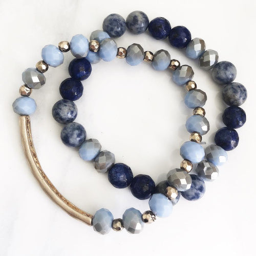 Blue + Gold Hammered Bar Stackable Bracelets