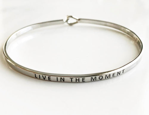 Silver Live in the Moment Hook Bangle Bracelets
