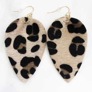 Gold Leopard Teardrop Pinched Earrings
