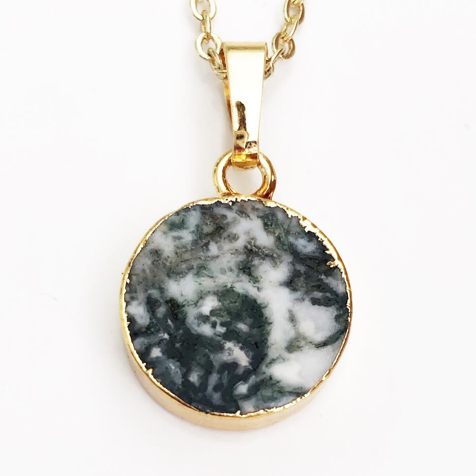 Gold Moss Agate Necklace