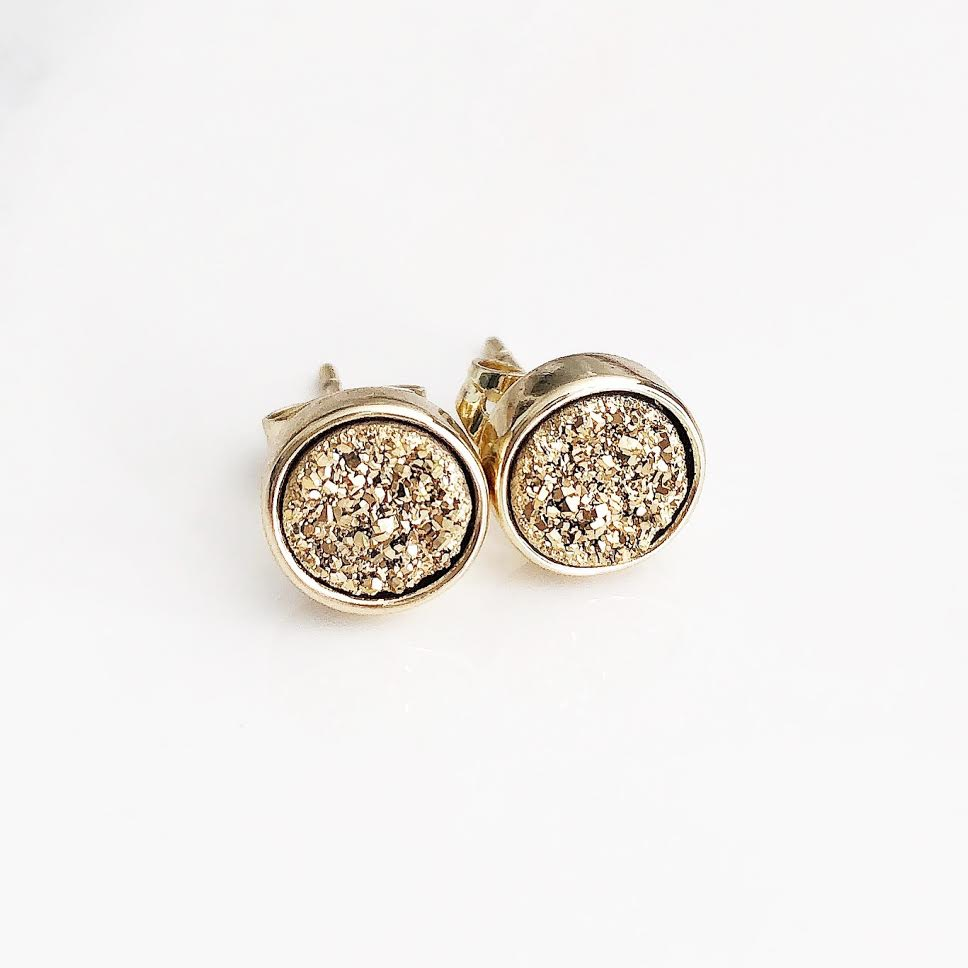 Gold on Gold Druzy Studs