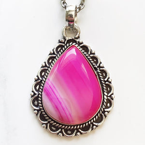 Silver Pink Agate Necklace