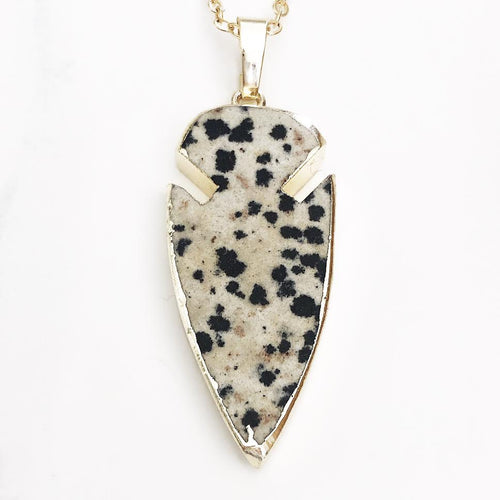 Gold Dalmatian Jasper Arrowhead Necklace