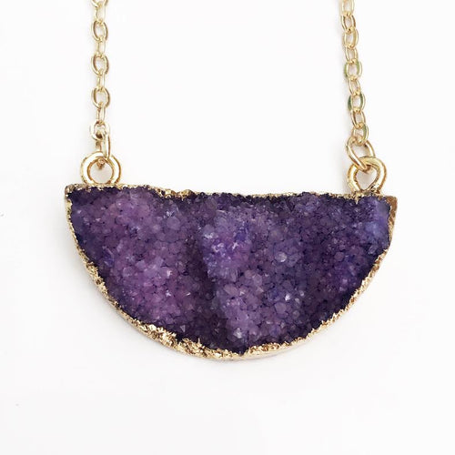Gold Purple Druzy Half Moon Necklace