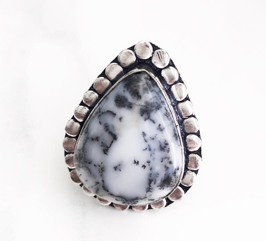Silver Dentritic Opal Ring