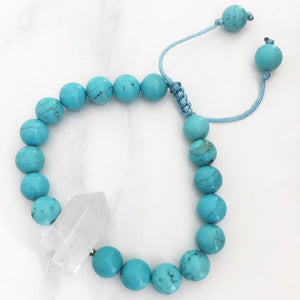 Turquoise Clear Quartz Point Adjustable Bracelet