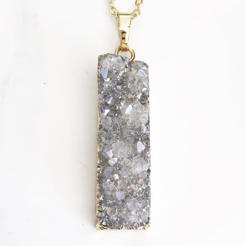 Gold White Druzy Bar Necklace