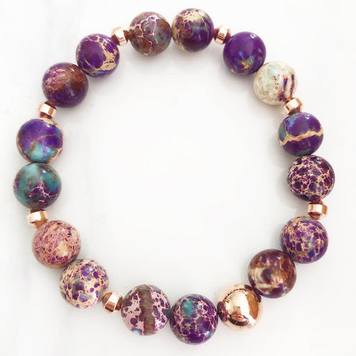 Rose Gold Purple Sea Sediment Jasper Bracelet