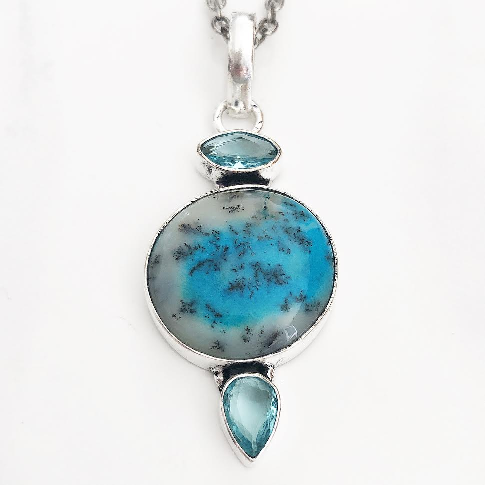 Silver Turquoise Dendritic Opal + Blue Topaz Necklace