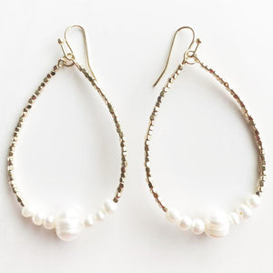 Gold + Freshwater Pearls Hoops