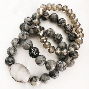 Crazy Lace Druzy Stackable Natural Stone Bracelets