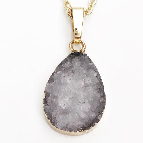 Gold White Druzy Tear Necklace