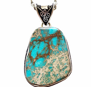 Silver Turquoise Sea Sediment Necklace