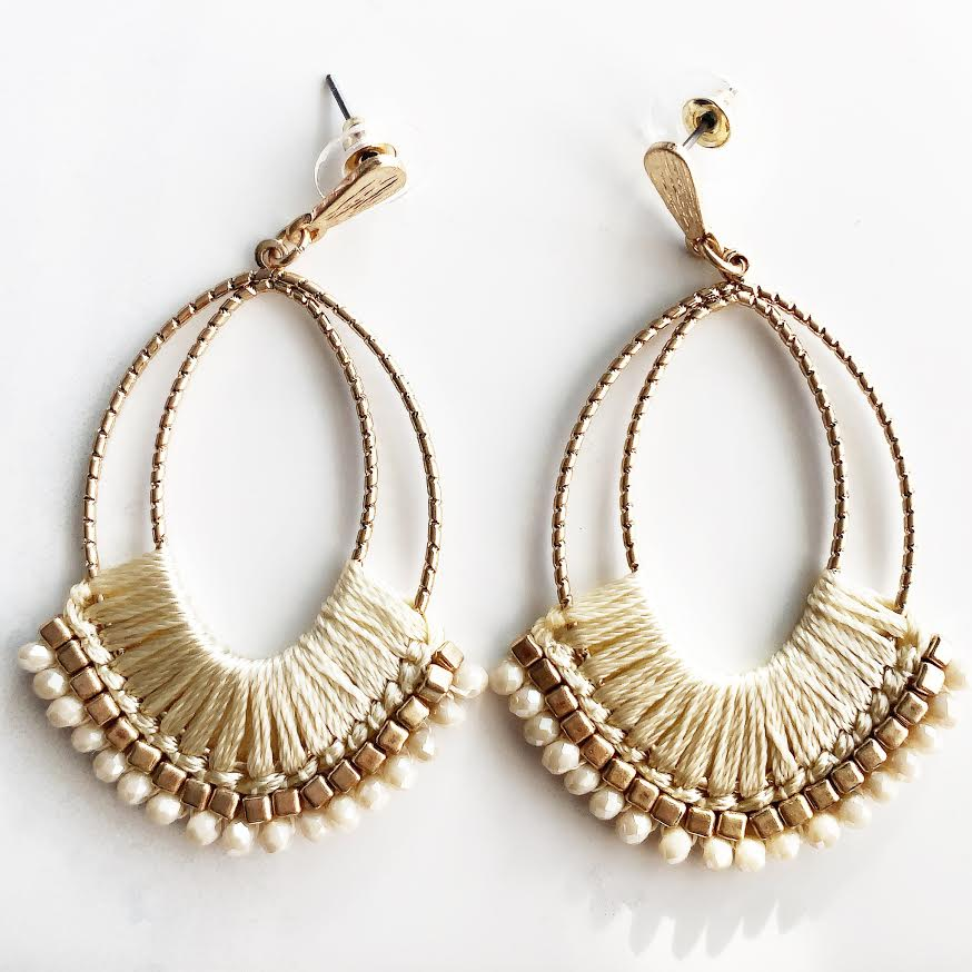 Gold Cream Thread + Beaded Earrings
