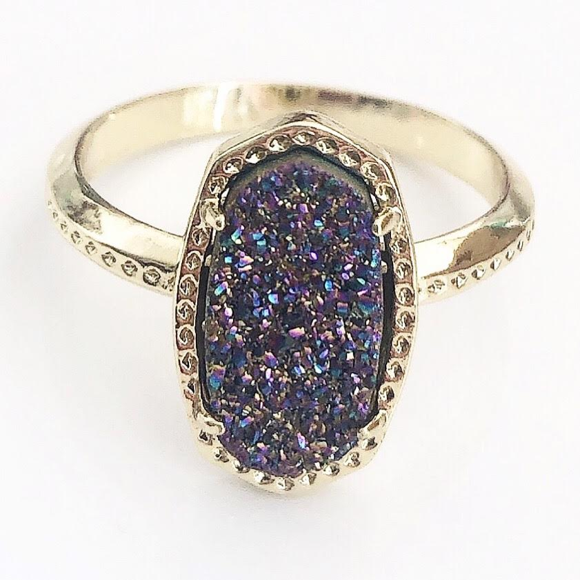 Gold Rainbow Druzy Claw Ring