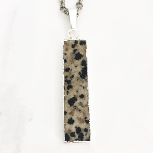 Silver Dalmatian Jasper Bar Necklace