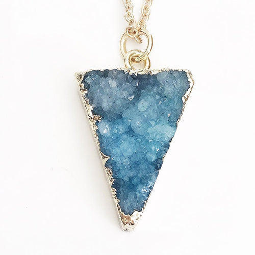 Gold Blue Druzy Triangle Necklace