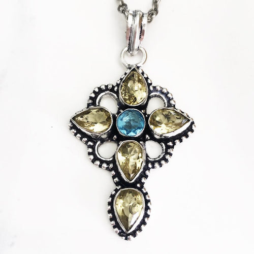 Silver Citrine + Blue Quartz Cross Necklace