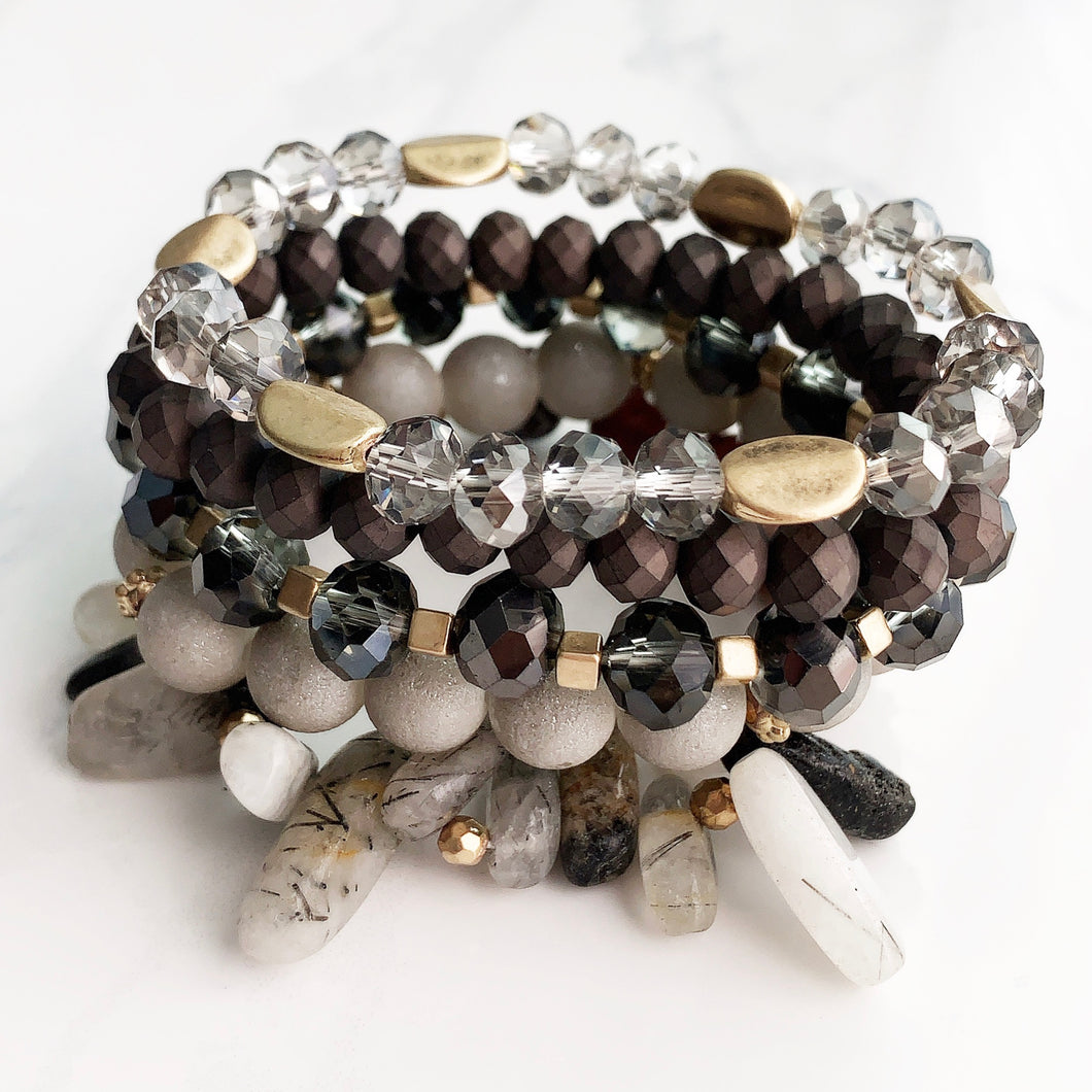 Tourmalinated Quartz Stackable Bracelet Stack