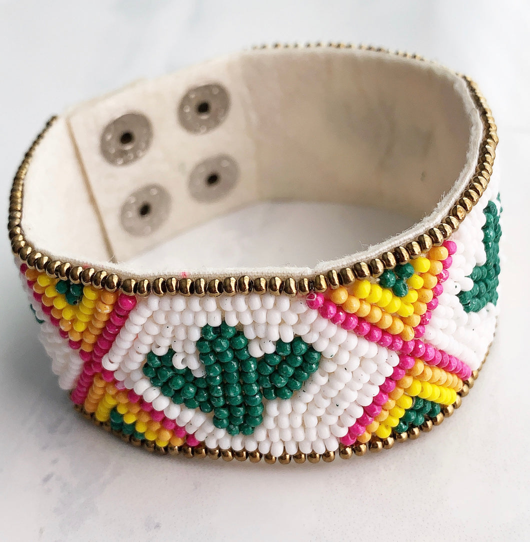 Seeded Cactus Snap Bracelet
