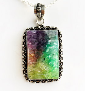 Silver Rainbow Solar Quartz Necklace