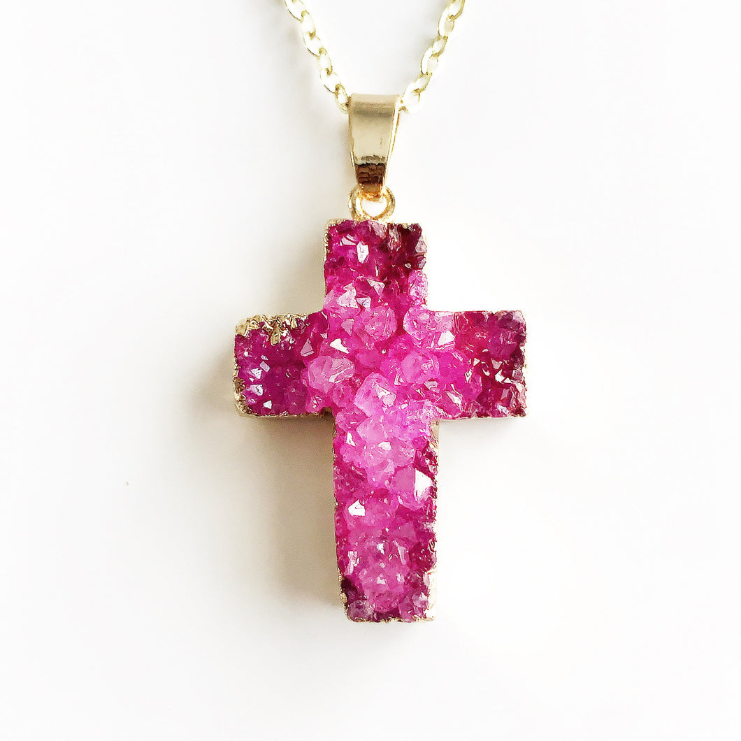 Gold Pink Druzy Cross Necklace