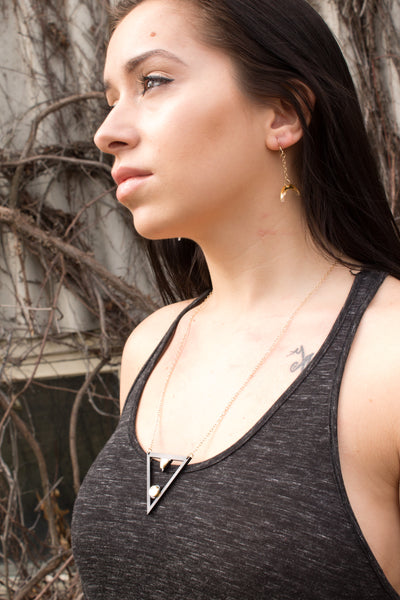 Equinox Necklace & Crescent Moon Earrings