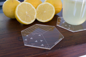 Lowerline laser cut acrylic coasters